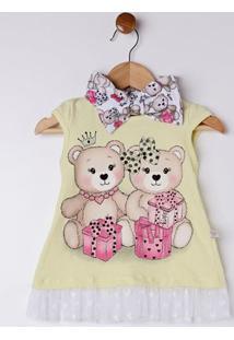 Conjunto Infantil Para Bebê Menina - Amarelo/Branco