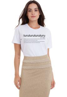 Camiseta Joss Estonada Estampada Turu Turu Dicionário Branca