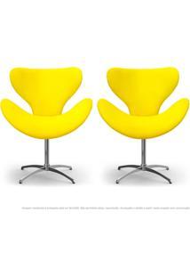 Kit De 02 Cadeiras Decorativas Poltronas Egg Amarela Com Base Giratória