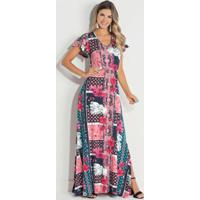 b29f78b1f Posthaus. Vestido Quintess Azulejo Rosa Com Manga Ampla