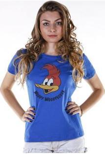 Camiseta Bandup Pica-Pau Face - Feminino-Azul
