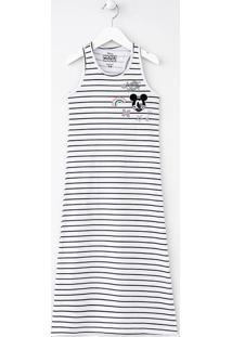 Vestido Infantil Longo Listrado Com Estampa Do Mickey - Tam 4 A 14 Anos