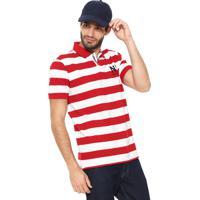 daeffc7b3 Camisa Polo Tommy Hilfiger Reta Block Stripe Vermelha