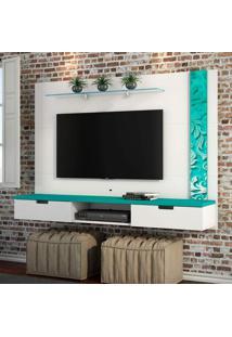 Painel Para Tv 48 Polegadas Sonetto Plus Branco E Turquesa 162 Cm