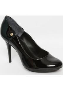 Sapato Em Couro Envernizado - Preta - Salto: 10Cmjorge Bischoff