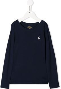 Ralph Lauren Kids Blusa Com Logo Bordado - Azul