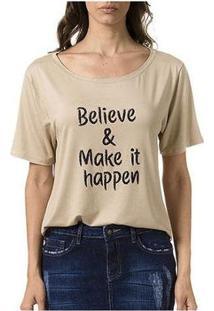 Camiseta Bloom Believe Feminina - Feminino-Creme