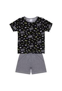 Conjunto Pijama Menino Em Meia Malha Camiseta Preta Rotativa E Bermuda Mescla - Liga Nessa