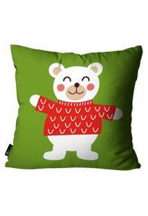 Capa Para Almofada Mdecore Urso Verde 35X35