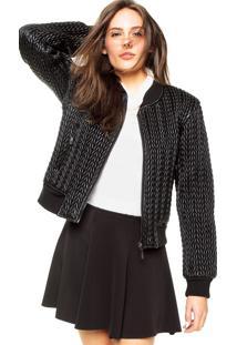 Jaqueta Ellus Knitted Leather Preta