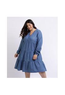 Vestido Feminino Mindset Plus Size Curto Com Recortes Manga Longa Azul Médio