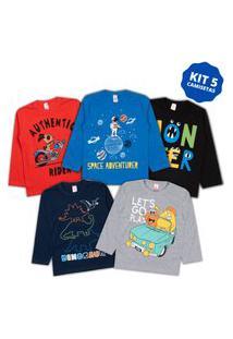 Kit 5 Camisas Manga Longa Infantil Menino Inverno