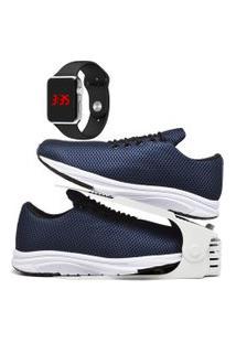Kit Tênis Esportivo Caminhada Com Organizador E Relógio Led Silver Dubuy 1108Db Azul