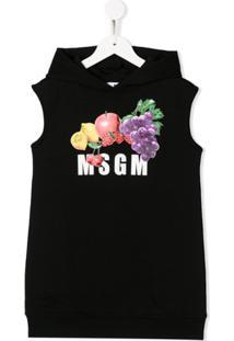 Msgm Kids Vestido Com Capuz E Estampa De Frutas - Preto