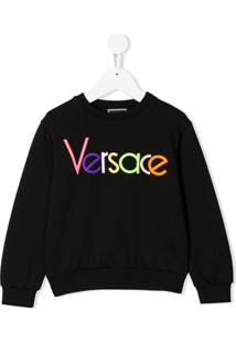 Young Versace Moletom Com Logo Bordado - Preto