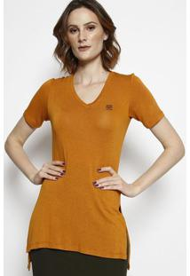 Camiseta Com Fendas & Bordado- Amarelo Escuro & Preta