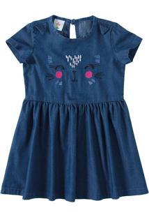 Vestido Jeans Com Bordado Menina Zig Zig Zaa Azul Escuro - 3