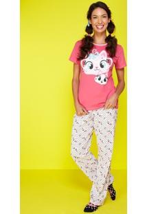 Pijama Meia Malha Gatas
