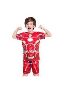Pijama Manga Curta - Super Herói De Aço Veggi
