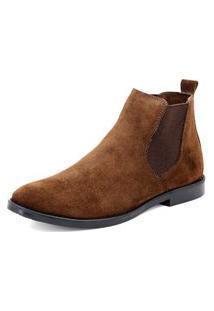Bota Chelsea Masculina Mr Shoes Camurça Marrom