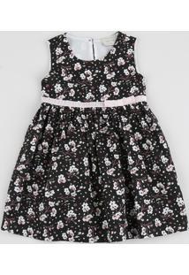 Vestido Infantil Floral Com Lacinho Regata Preto