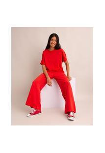 Camiseta Oversized Básica De Algodão Manga Curta Decote Redondo Com Recorte Vermelho