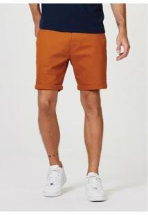 Bermuda Sarja Masculina Slim Com Amarração - Masculino-Caramelo