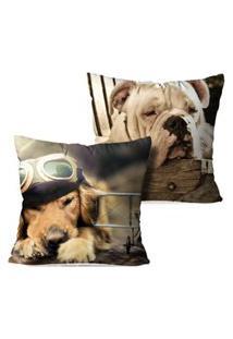 Kit 2 Capas Para Almofadas Decorativas Dogs Sleepers 45X45Cm