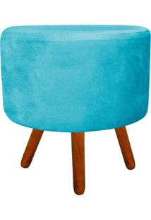 Puff Banqueta Decorativa Dora Redondo Suede Azul Tiffany - D'Rossi