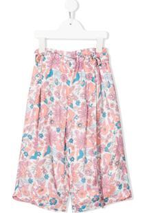 Chloé Kids Calça Pantalona Com Estampa Floral - Branco