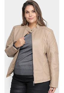 Jaqueta City Lady Plus Size Pu Feminina - Feminino-Cáqui