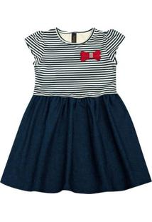 Vestido Infantil - Manga Curta - Listra Com Lacinho - Algodão E Elastano - Marinho - Duduka - 2