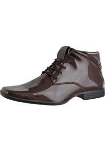Bota Social Envernizada Cr Shoes Café Marrom