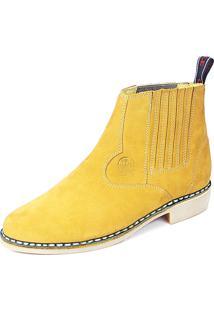 Bota Cano Curto Em Couro Cla-Cle Amarelo