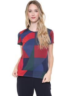Camiseta Lacoste Recortes Azul/Vermelha