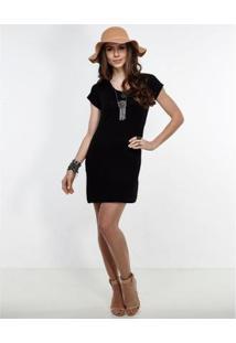Vestido Manola Curto Liso - Feminino-Preto