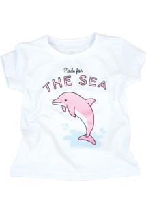 Camiseta Doll Up Golfinho Manga Curta Menina Branca