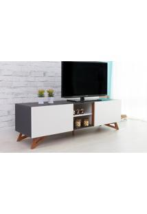Rack Tv Preto Moderno Vintage Retrô Com 2 Portas Branca Freddie - 160X43,6X48,5 Cm