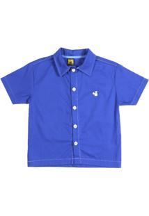 Camisa Manga Curta Infantil Para Menino - Azul - Masculino-Azul