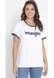 """Camiseta """"Wrangler®"""" - Branca & Azul Marinhowrangler"""