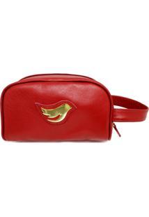 Necessarie De Couro Little Bird - Vermelho