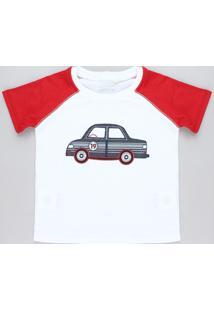 Camiseta Infantil Raglan Com Carro Bordado Manga Curta Gola Careca Branca