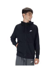 Jaqueta Com Capuz Nike Club Hoodie Fz Ft - Masculina - Preto