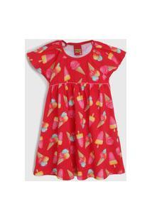 Vestido Kyly Infantil Sorvete Vermelho