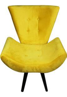 Poltrona Decorativa Pé Palito Emília Suede Amarela