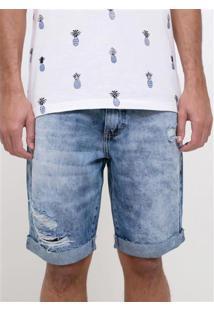 Bermuda Jeans Barra Dobrada E Rasgos
