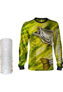 Camisa + Máscara Pesca Quisty Robalo Arisco Amarelo Proteção Uv Dryfit Infantil/Adulto - Camiseta De Pesca Quisty