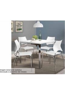 Sala De Jantar Carraro Mesa 1525+4 Cadeiras 357 Crom/Branco