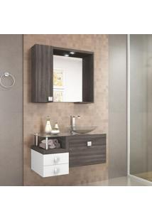 Gabinete Suspenso Sem Cuba Com Espelheira Para Banheiro Montreal Celta Móveis Dakota/Branco