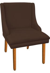 Cadeira Poltrona Decorativa Liz Suede Marrom - D'Rossi